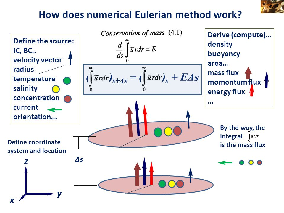 How does numerical Eulerian method work? Define the source: IC, BC.. velocity vector radius temperature salinity concentration current orientation...