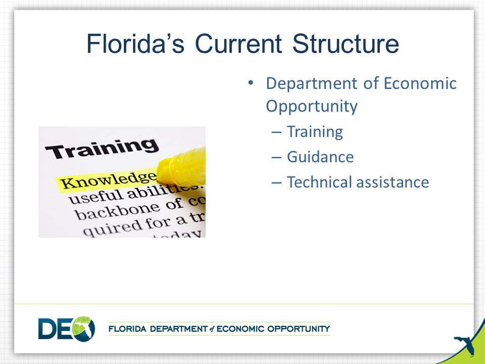 Florida's Current Structure Department of Economic Opportunity – Training – Guidance – Technical assistance