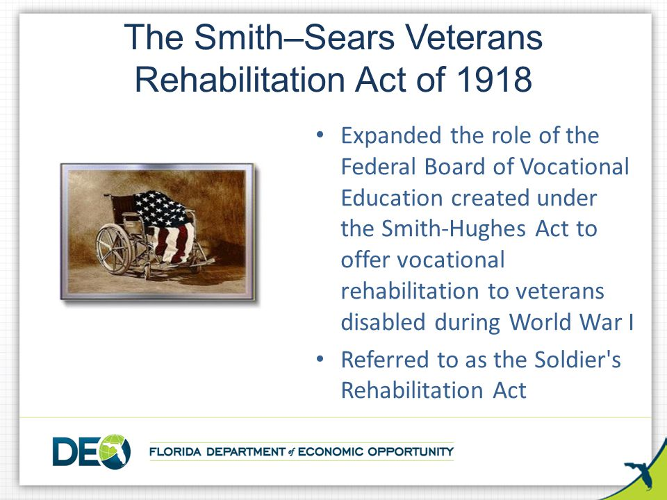 Expanded the role of the Federal Board of Vocational Education created under the Smith-Hughes Act to offer vocational rehabilitation to veterans disab