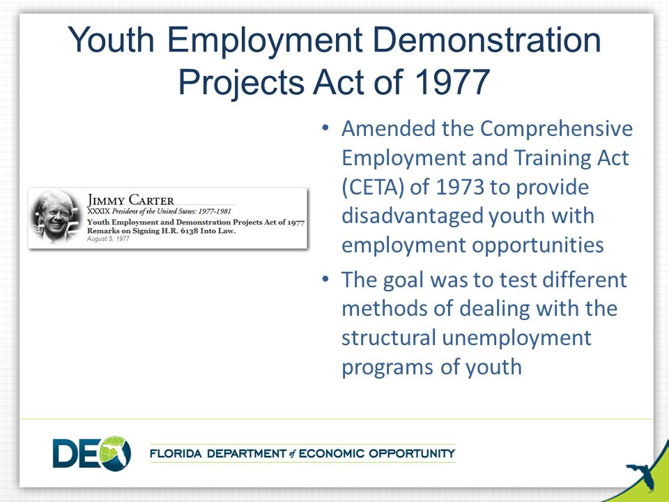 Youth Employment Demonstration Projects Act of 1977 Amended the Comprehensive Employment and Training Act (CETA) of 1973 to provide disadvantaged yout