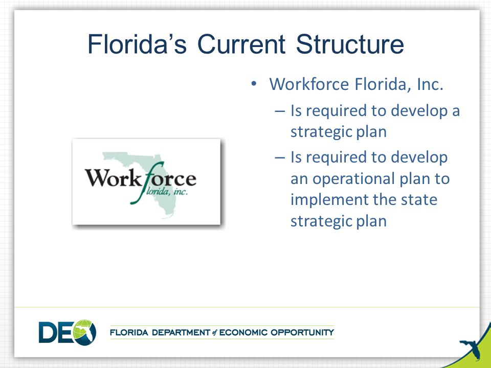 Florida's Current Structure Workforce Florida, Inc. – Is required to develop a strategic plan – Is required to develop an operational plan to implemen