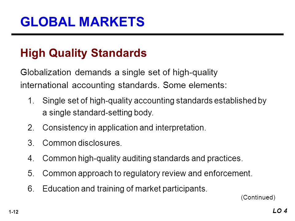 1-12 High Quality Standards Globalization demands a single set of high-quality international accounting standards. Some elements: 1.Single set of high