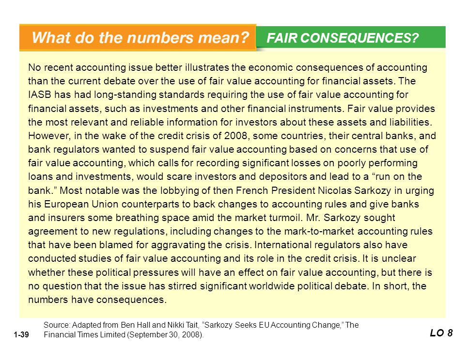 1-39 No recent accounting issue better illustrates the economic consequences of accounting than the current debate over the use of fair value accounti
