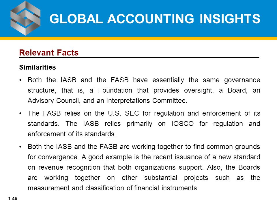 1-46 Relevant Facts Similarities Both the IASB and the FASB have essentially the same governance structure, that is, a Foundation that provides oversi