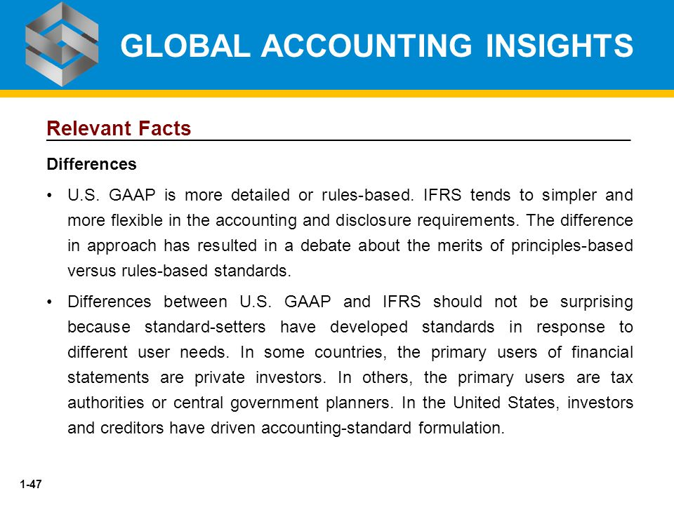 1-47 Relevant Facts Differences U.S. GAAP is more detailed or rules-based. IFRS tends to simpler and more flexible in the accounting and disclosure re