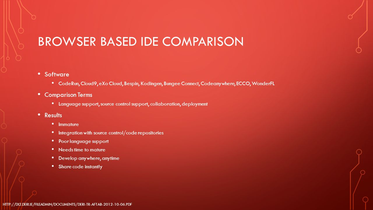 BROWSER BASED IDE COMPARISON Software CodeRun, Cloud9, eXo Cloud, Bespin, Kodingen, Bungee Connect, Codeanywhere, ECCO, WonderFL Comparison Terms Lang