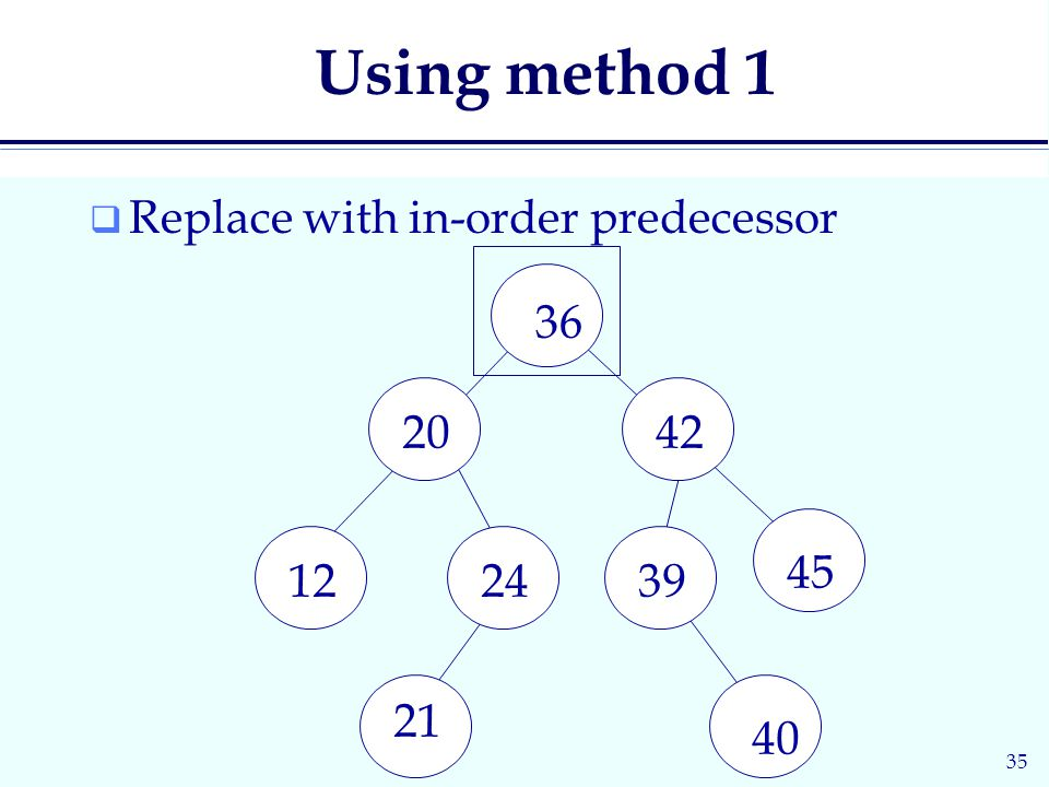 35 Using method 1  Replace with in-order predecessor 36 2042 122439 45 21 40