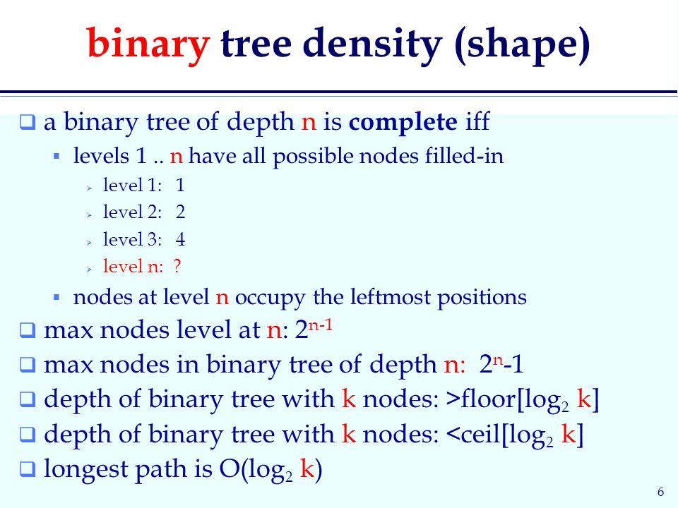 6 binary tree density (shape)  a binary tree of depth n is complete iff  levels 1..
