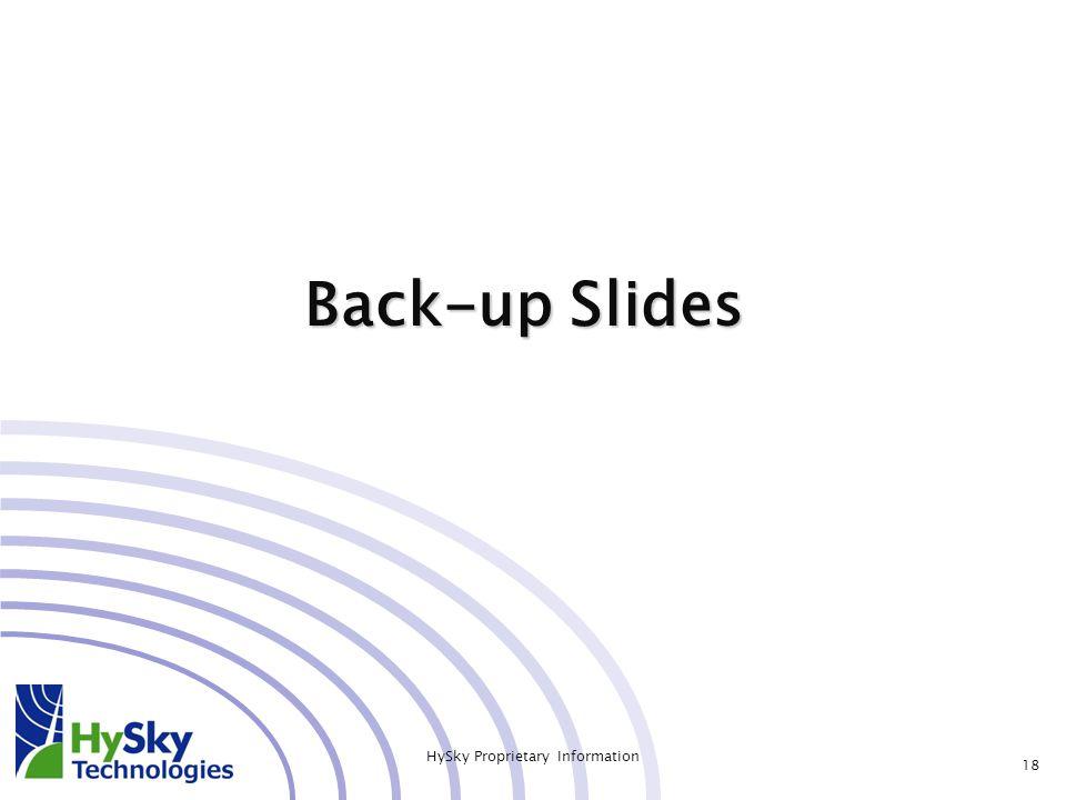 Back-up Slides 18 HySky Proprietary Information