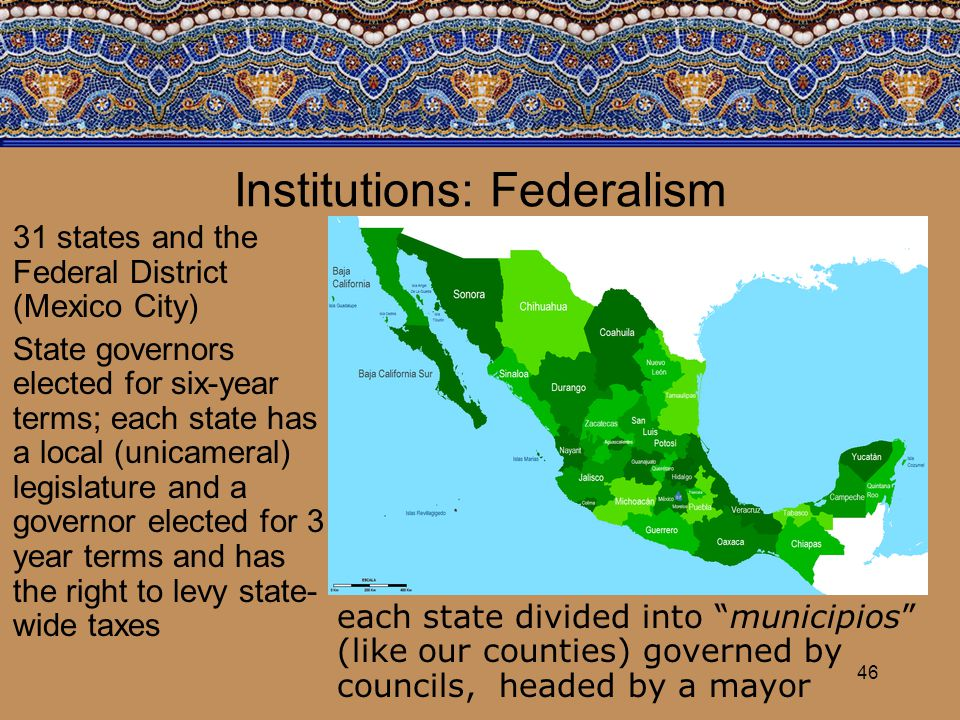 46 Institutions: Federalism 31 states and the Federal District (Mexico City) State governors elected for six-year terms; each state has a local (unica