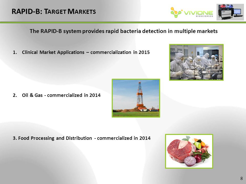 RAPID-B: T ARGET M ARKETS 1.Clinical Market Applications – commercialization in 2015 2.Oil & Gas - commercialized in 2014 3. Food Processing and Distr