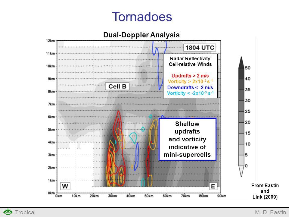 Radar Reflectivity Cell-relative Winds Updrafts > 2 m/s Vorticity > 2x10 -3 s -1 Downdrafts < -2 m/s Vorticity < -2x10 -3 s -1 Dual-Doppler Analysis T
