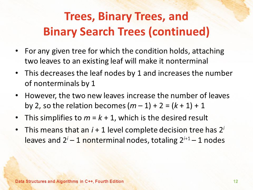 Trees, Binary Trees, and Binary Search Trees (continued) For any given tree for which the condition holds, attaching two leaves to an existing leaf wi