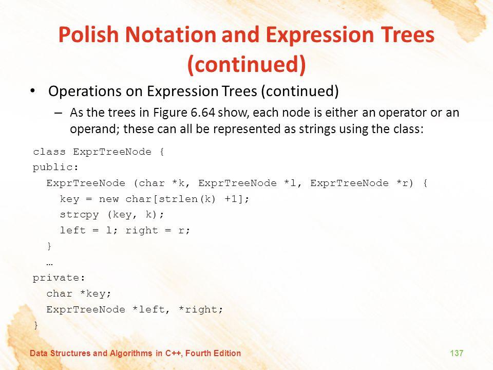 Polish Notation and Expression Trees (continued) Operations on Expression Trees (continued) – As the trees in Figure 6.64 show, each node is either an