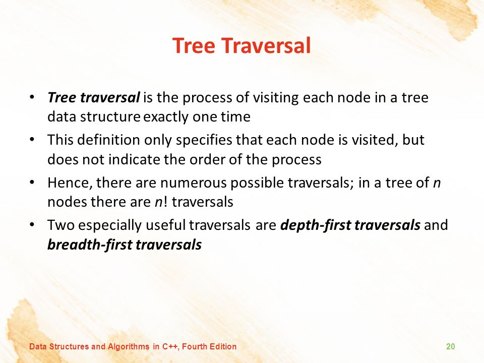 Tree Traversal Tree traversal is the process of visiting each node in a tree data structure exactly one time This definition only specifies that each