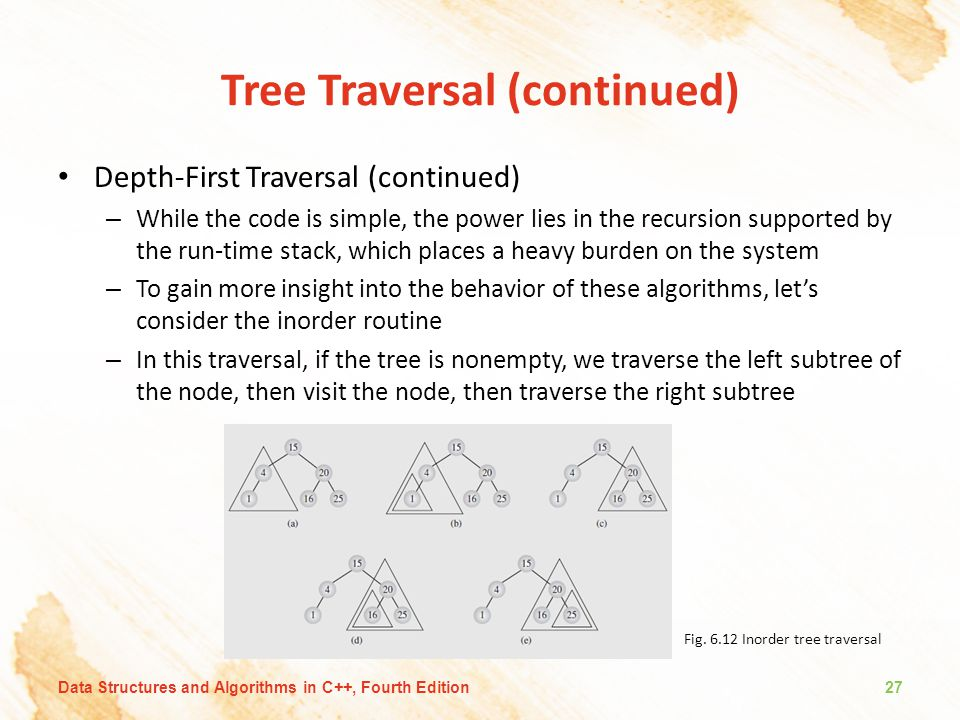 Tree Traversal (continued) Depth-First Traversal (continued) – While the code is simple, the power lies in the recursion supported by the run-time sta