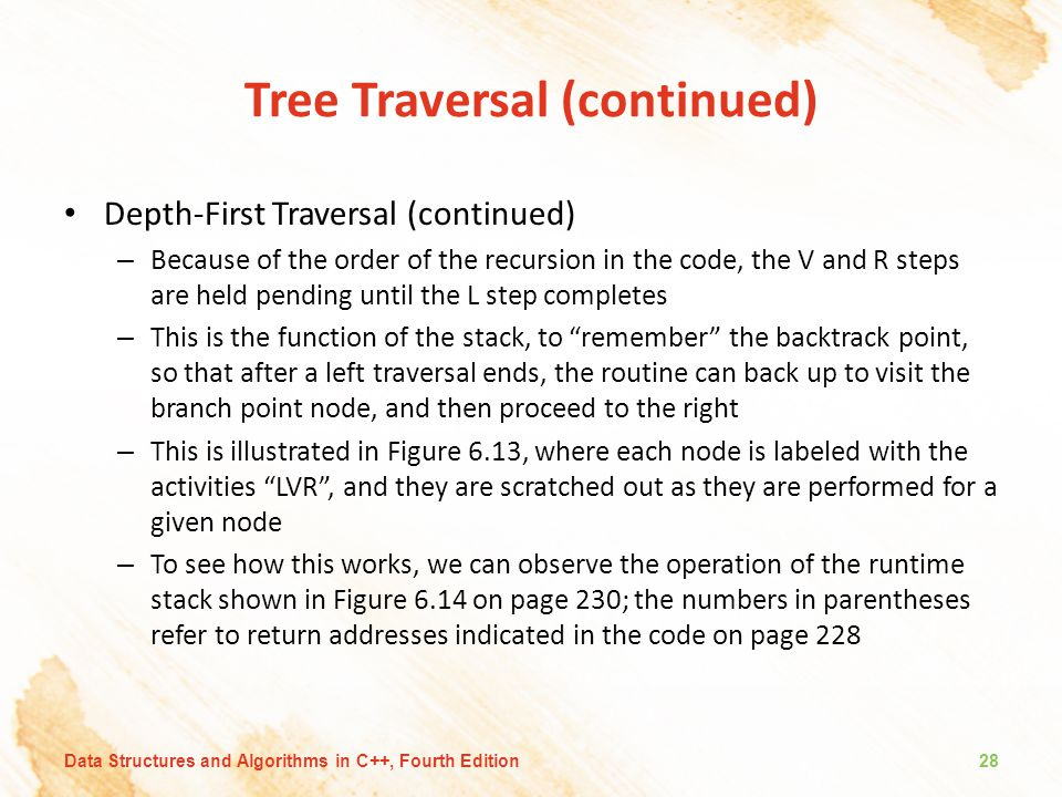 Tree Traversal (continued) Depth-First Traversal (continued) – Because of the order of the recursion in the code, the V and R steps are held pending u