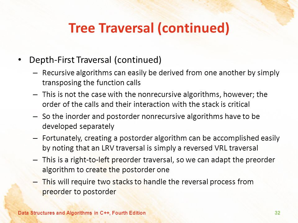 Tree Traversal (continued) Depth-First Traversal (continued) – Recursive algorithms can easily be derived from one another by simply transposing the f
