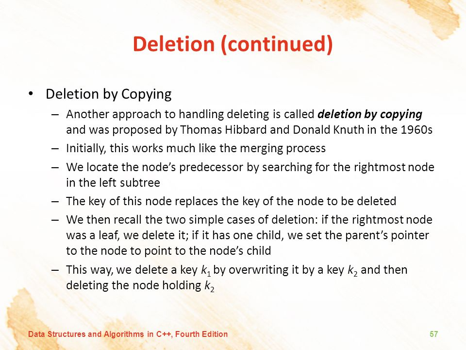 Deletion (continued) Deletion by Copying – Another approach to handling deleting is called deletion by copying and was proposed by Thomas Hibbard and