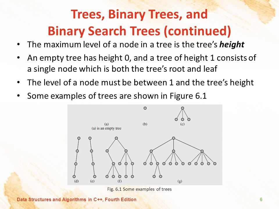 Trees, Binary Trees, and Binary Search Trees (continued) The maximum level of a node in a tree is the tree's height An empty tree has height 0, and a