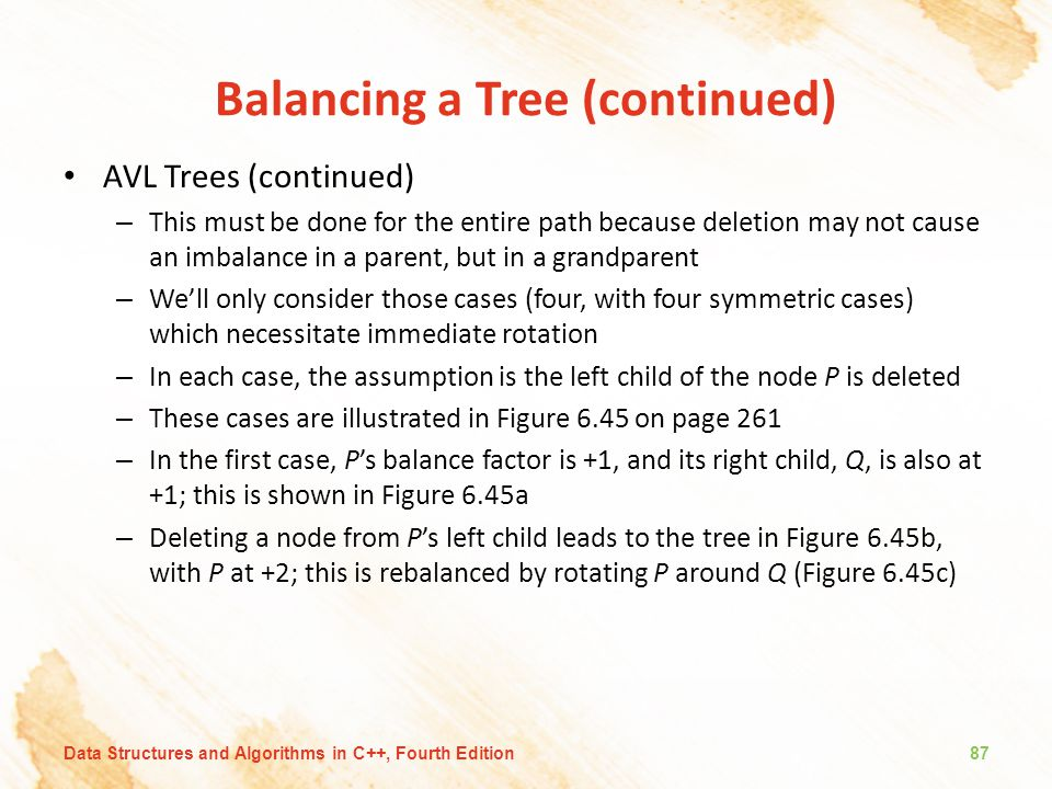Balancing a Tree (continued) AVL Trees (continued) – This must be done for the entire path because deletion may not cause an imbalance in a parent, bu