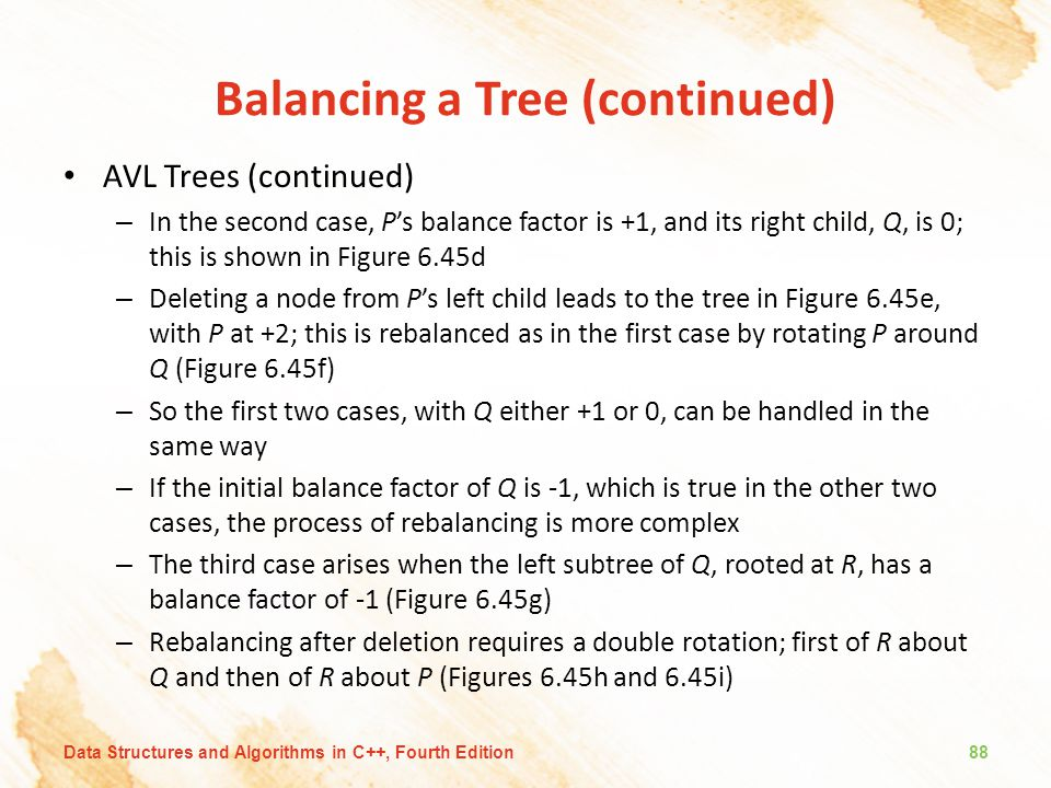 Balancing a Tree (continued) AVL Trees (continued) – In the second case, P's balance factor is +1, and its right child, Q, is 0; this is shown in Figu