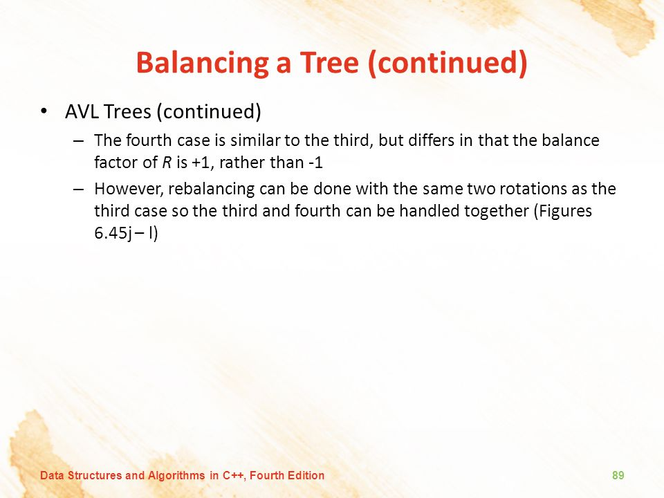 Balancing a Tree (continued) AVL Trees (continued) – The fourth case is similar to the third, but differs in that the balance factor of R is +1, rathe