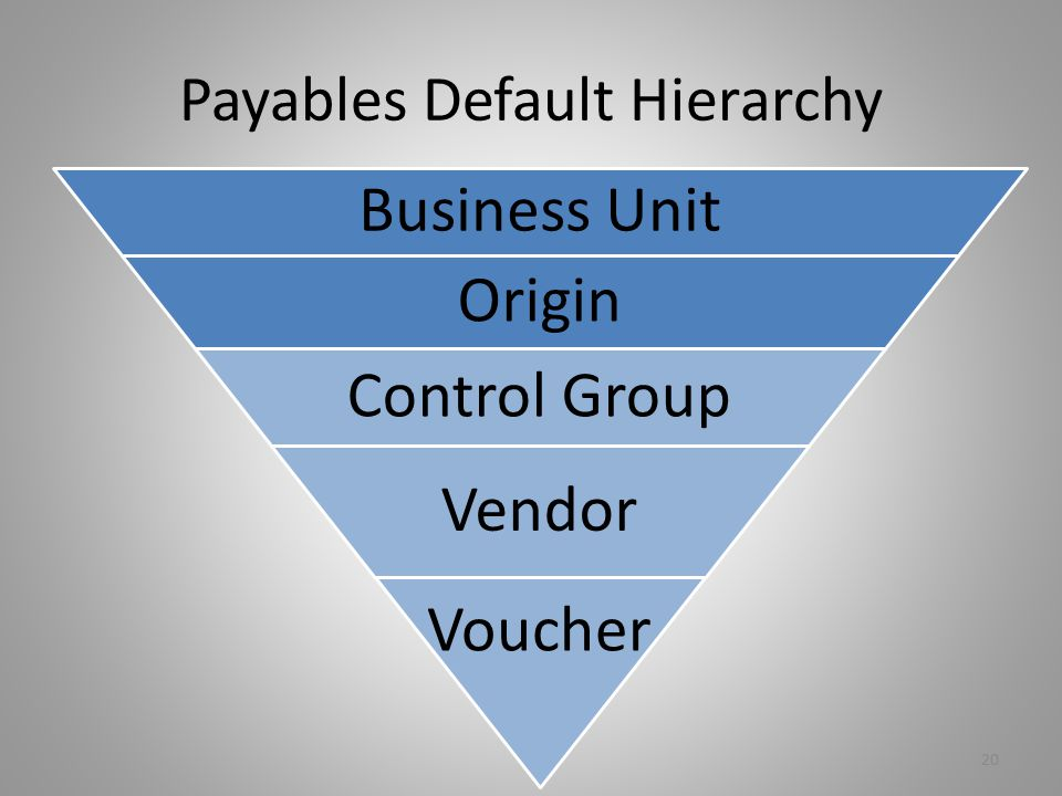Payables Default Hierarchy 20 Business Unit Origin Control Group Vendor Voucher