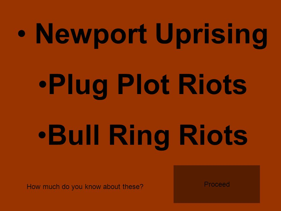 Newport Uprising Plug Plot Riots Bull Ring Riots How much do you know about these Proceed