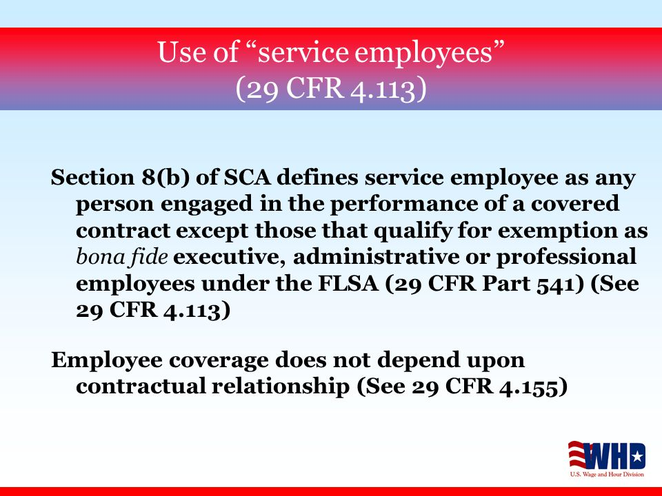 Contracts Not SCA Covered (29 C.F.R.