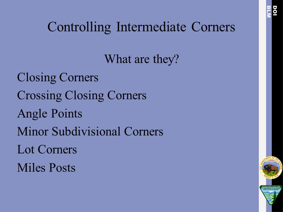 Controlling Intermediate Corners What are they? Closing Corners Crossing Closing Corners Angle Points Minor Subdivisional Corners Lot Corners Miles Po