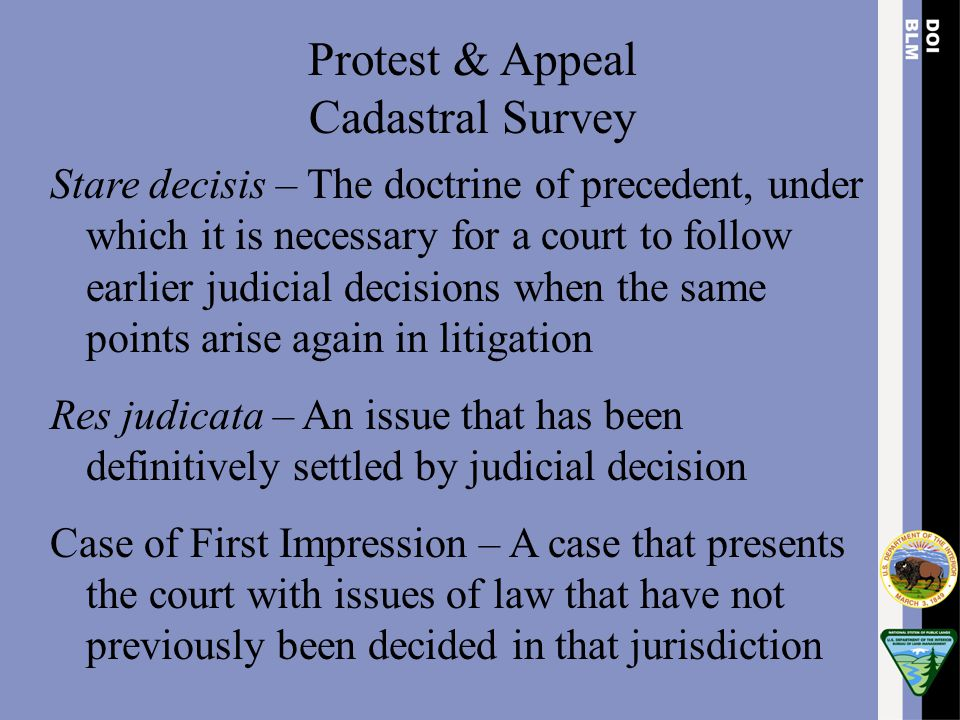 Protest & Appeal Cadastral Survey Stare decisis – The doctrine of precedent, under which it is necessary for a court to follow earlier judicial decisi