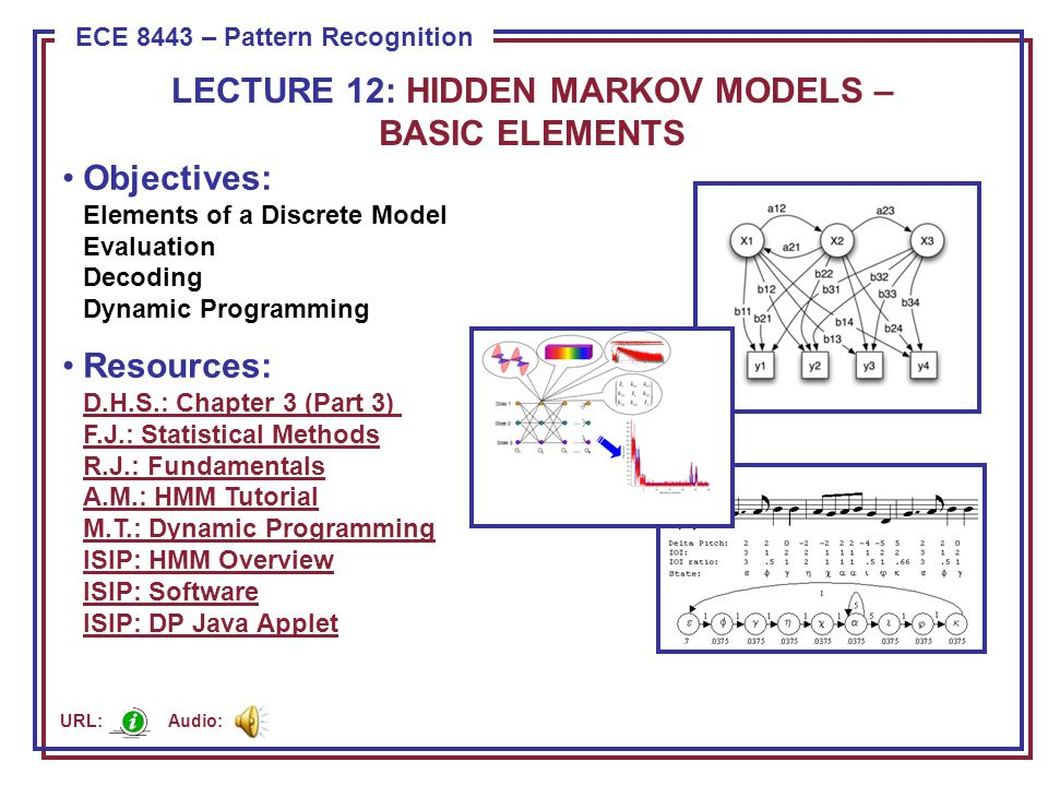 ECE 8443 – Pattern Recognition Objectives: Elements of a Discrete Model Evaluation Decoding Dynamic Programming Resources: D.H.S.: Chapter 3 (Part 3)