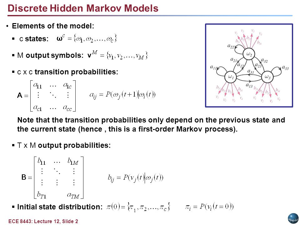 ECE 8443: Lecture 12, Slide 2 Elements of the model:  c states:  M output symbols:  c x c transition probabilities: Note that the transition probabilities only depend on the previous state and the current state (hence, this is a first-order Markov process).