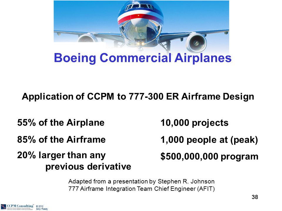 © 2012 Skip Reedy 38 Adapted from a presentation by Stephen R. Johnson 777 Airframe Integration Team Chief Engineer (AFIT) Boeing Commercial Airplanes