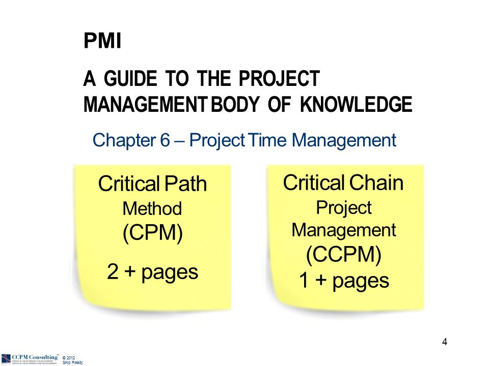 © 2012 Skip Reedy comment on PMI CCPM forum Critical chain is crazy.