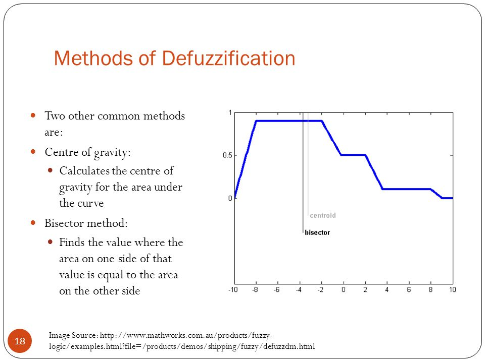 Methods of Defuzzification 18 Two other common methods are: Centre of gravity: Calculates the centre of gravity for the area under the curve Bisector