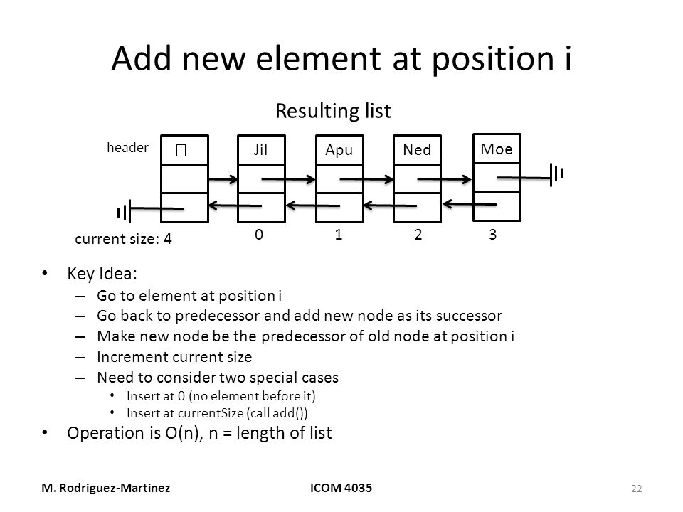Add new element at position i Key Idea: – Go to element at position i – Go back to predecessor and add new node as its successor – Make new node be the predecessor of old node at position i – Increment current size – Need to consider two special cases Insert at 0 (no element before it) Insert at currentSize (call add()) Operation is O(n), n = length of list M.