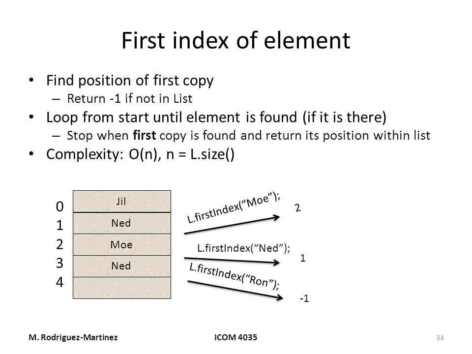 First index of element Find position of first copy – Return -1 if not in List Loop from start until element is found (if it is there) – Stop when first copy is found and return its position within list Complexity: O(n), n = L.size() M.