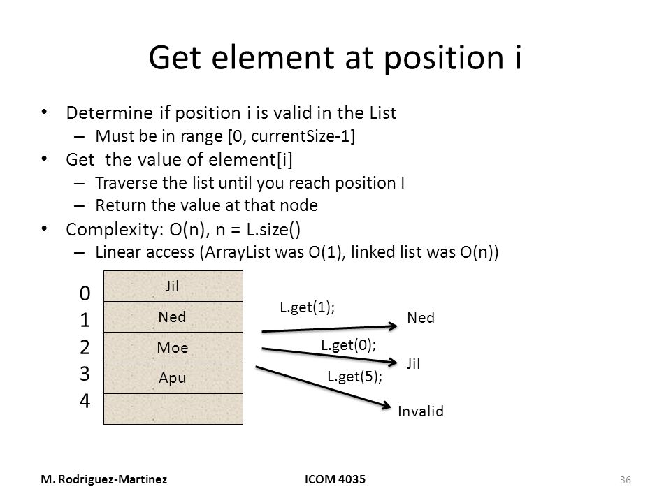 Get element at position i Determine if position i is valid in the List – Must be in range [0, currentSize-1] Get the value of element[i] – Traverse the list until you reach position I – Return the value at that node Complexity: O(n), n = L.size() – Linear access (ArrayList was O(1), linked list was O(n)) M.
