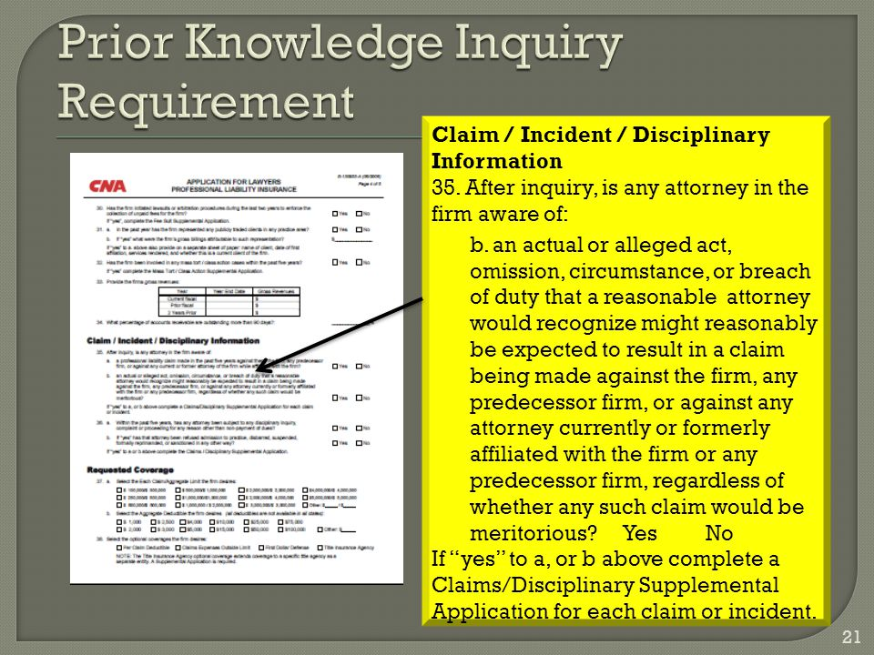 Claim / Incident / Disciplinary Information 35.