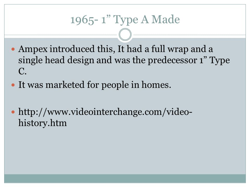 """1965- 1"""" Type A Made Ampex introduced this, It had a full wrap and a single head design and was the predecessor 1"""" Type C. It was marketed for people"""