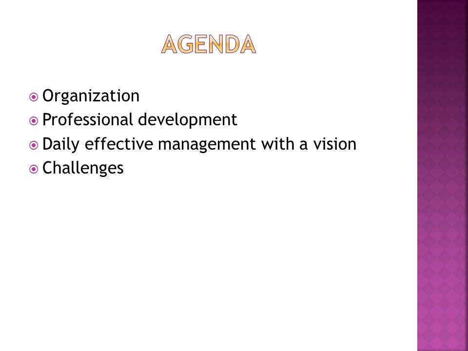  Organization  Professional development  Daily effective management with a vision  Challenges