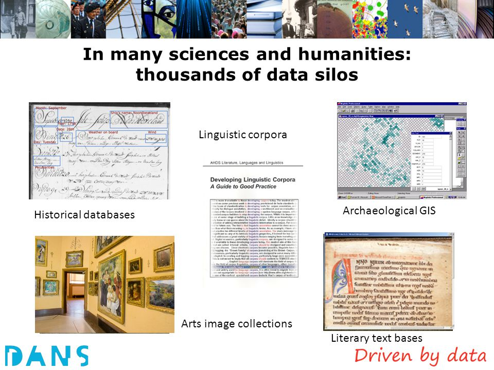 In many sciences and humanities: thousands of data silos Historical databases Archaeological GIS Linguistic corpora Arts image collections Literary te