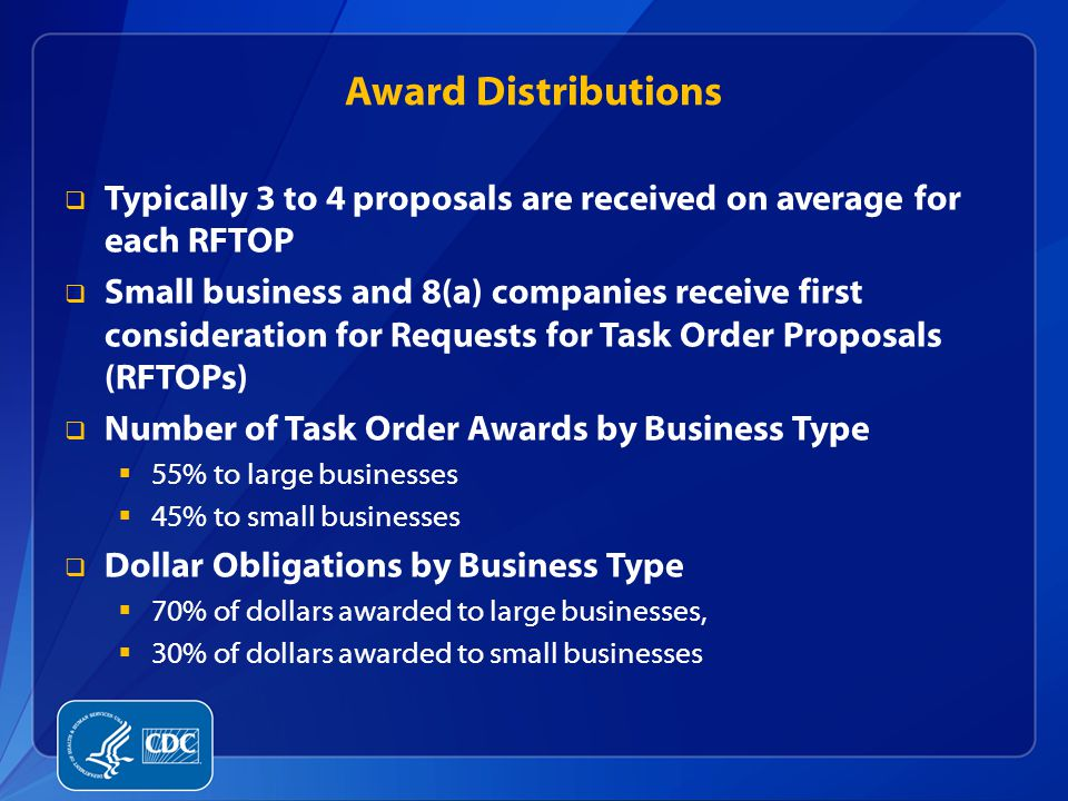 Award Distributions  Typically 3 to 4 proposals are received on average for each RFTOP  Small business and 8(a) companies receive first consideratio