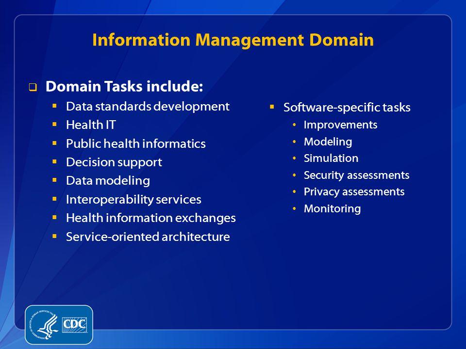Information Management Domain  Domain Tasks include:  Data standards development  Health IT  Public health informatics  Decision support  Data m