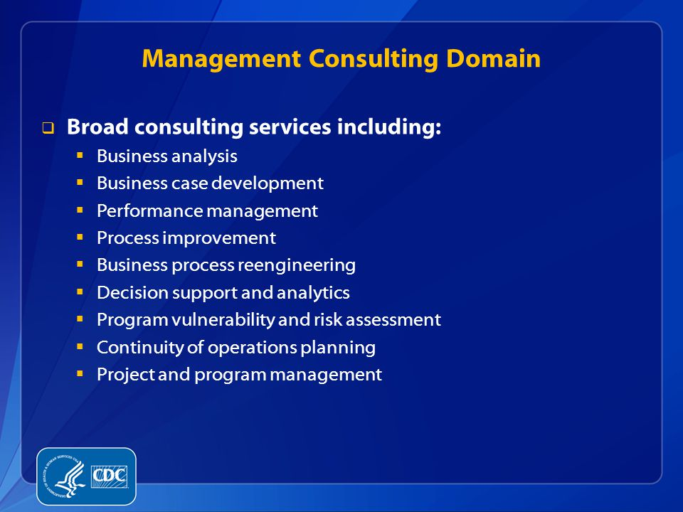 Management Consulting Domain  Broad consulting services including:  Business analysis  Business case development  Performance management  Process