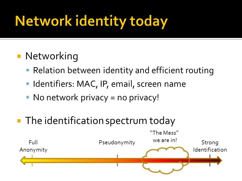  Networking  Relation between identity and efficient routing  Identifiers: MAC, IP, email, screen name  No network privacy = no privacy.