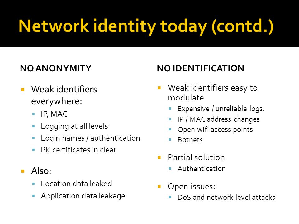 NO ANONYMITY  Weak identifiers everywhere:  IP, MAC  Logging at all levels  Login names / authentication  PK certificates in clear  Also:  Location data leaked  Application data leakage NO IDENTIFICATION  Weak identifiers easy to modulate  Expensive / unreliable logs.