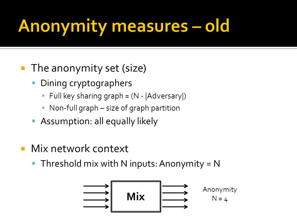  The anonymity set (size)  Dining cryptographers ▪ Full key sharing graph = (N - |Adversary|) ▪ Non-full graph – size of graph partition  Assumption: all equally likely  Mix network context  Threshold mix with N inputs: Anonymity = N Mix Anonymity N = 4